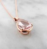 Sleek Rose Gold Pear Shape Morganite Necklace, Divine