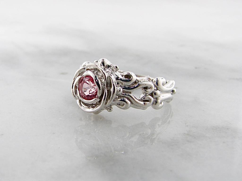 Signature Rose Pink Topaz Silver Ring, Victorian A la Rose
