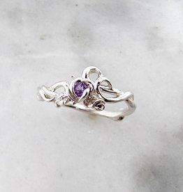 Signature Rose Amethyst Silver Ring, Rose Garden