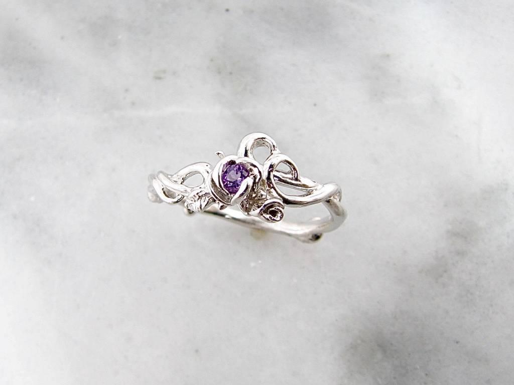 Signature Rose Amethyst Silver Ring, Rose Garden