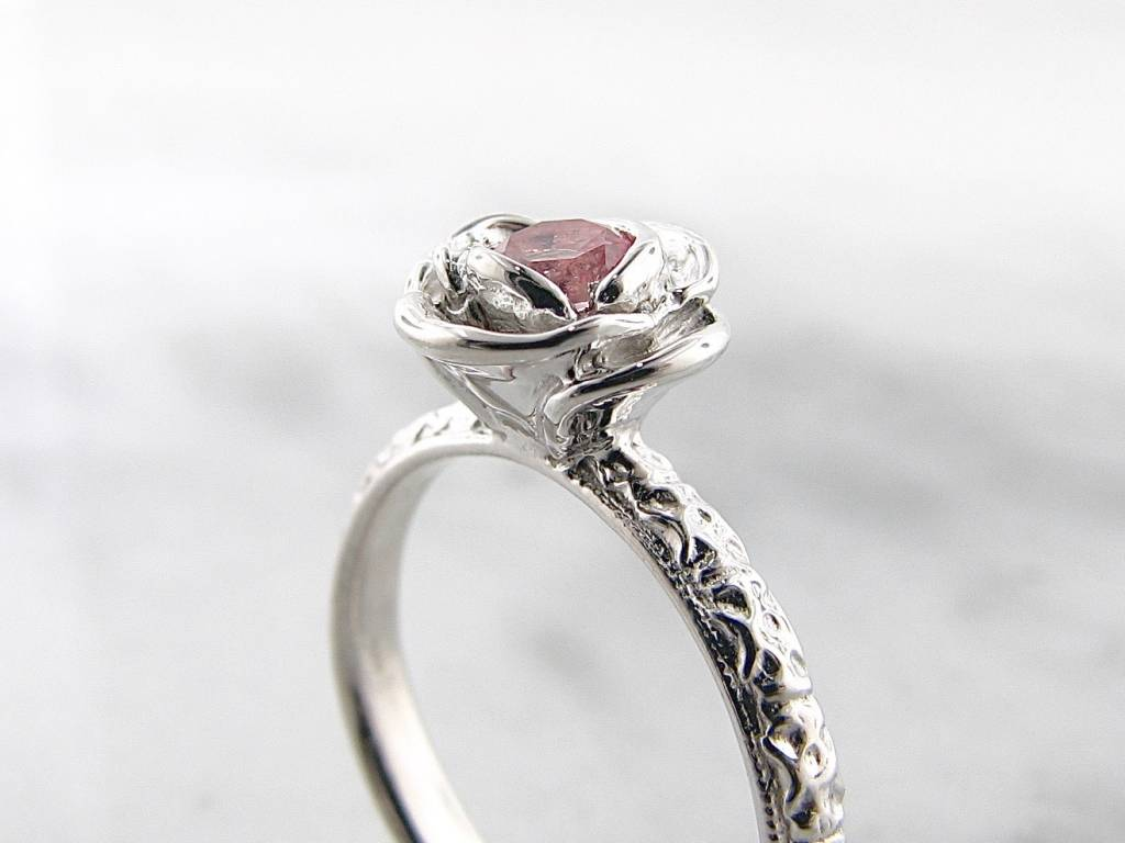 Signature Rose Baby Pink Topaz Silver Ring, Stacking Solitaire Rose