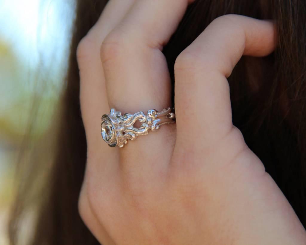 Signature Rose Rubellite Pink Tourmaline Silver Ring, Victorian A la Rose