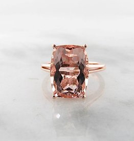 Sleek Morganite Rose Gold Ring, Divine