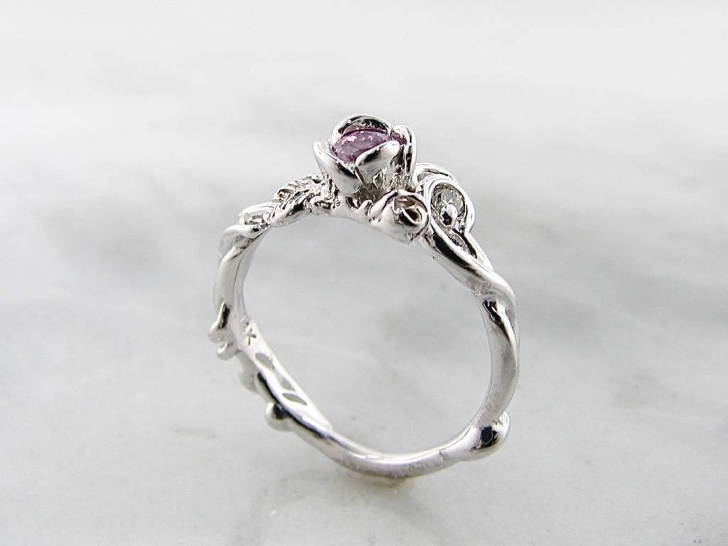 Signature Rose Pink Sapphire Diamond White Gold Ring, Rose Garden Full Bloom