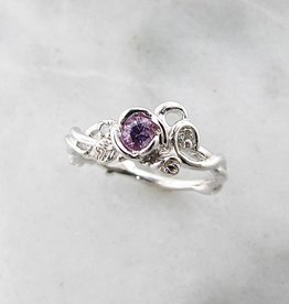Signature Rose Pink Sapphire Diamond White Gold Ring, Rose Garden Full Bloom
