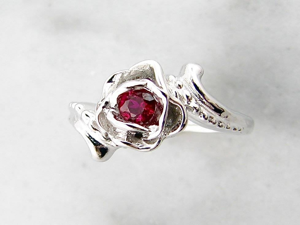 Signature Rose Burmese Ruby White Gold Ring, Love's Long Lost Rose