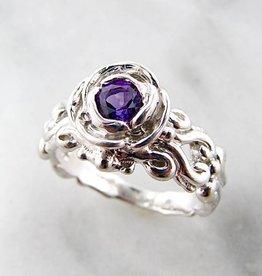 Signature Rose Amethyst Silver Ring, Victorian A la Rose