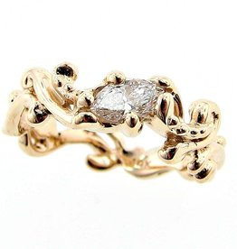 Motion Yellow Gold Marquise Diamond Ring, Cirrus Band