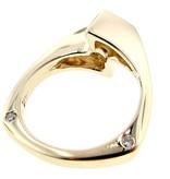 Sleek Princess Cut Diamond Yellow Gold Ring, Euro