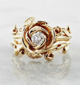 Signature Rose Diamond Yellow Gold Wedding Ring Set, Rose Garland