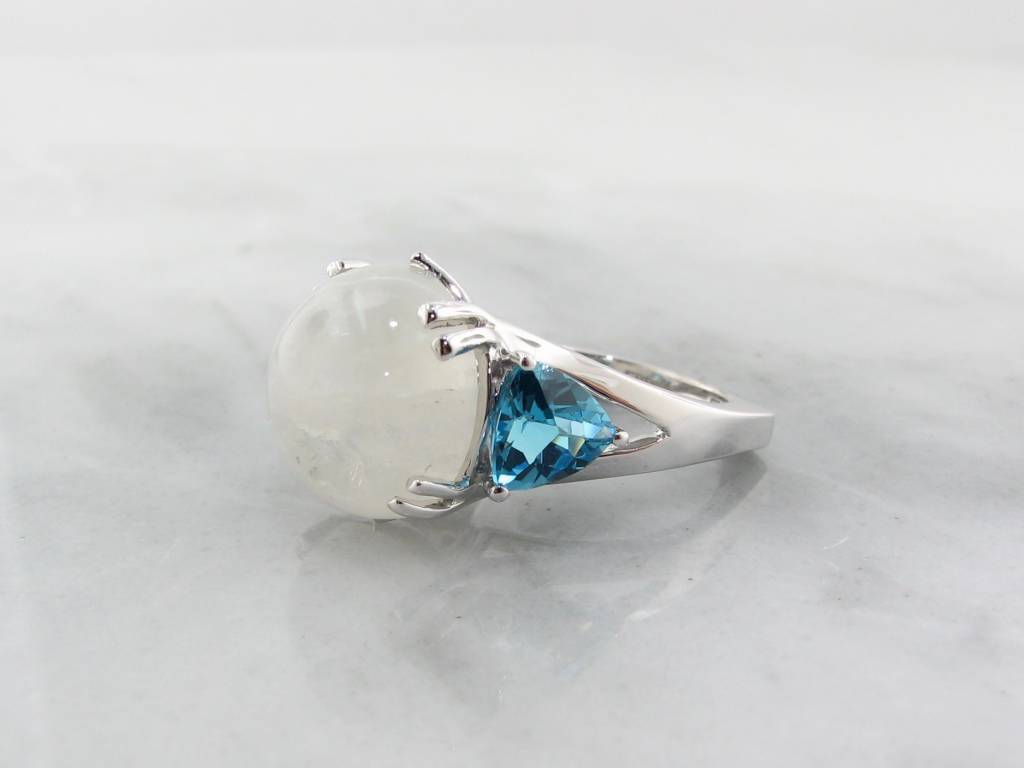 Frank Reubel Rainbow Moonstone w/ Blue Topaz Ring