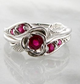 Signature Rose Ruby Silver Wedding Ring Set, Prize Tea Rose