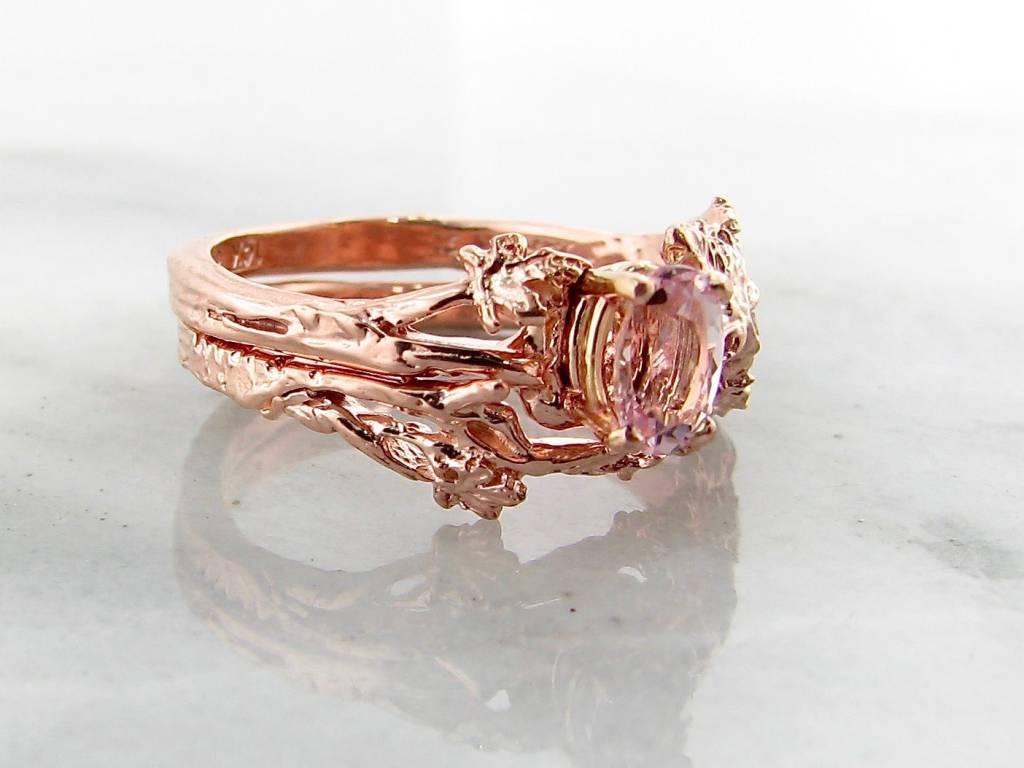 Signature Rose Morganite Rose Gold Wedding Ring Set, Maple Leaf