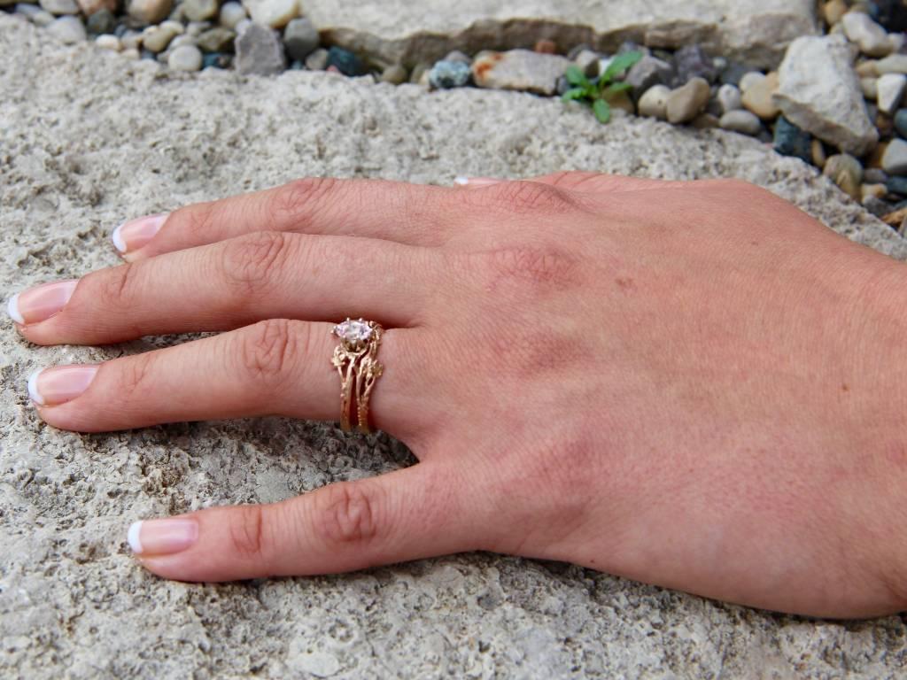Morganite Rose Gold Wedding Ring Set, Maple Leaf | Wexford Jewelers ...