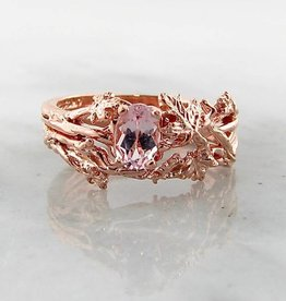 Signature Rose Morganite Rose Gold Wedding Ring Set, Maple Leaf