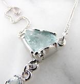 Organic Raw Aquamarine Silver Necklace, Ice Floe