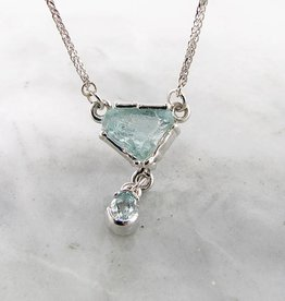 Organic Raw Aquamarine Silver Necklace, Ice Floe