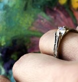 Organic Moonstone Silver Ring, Skinny Melted Band