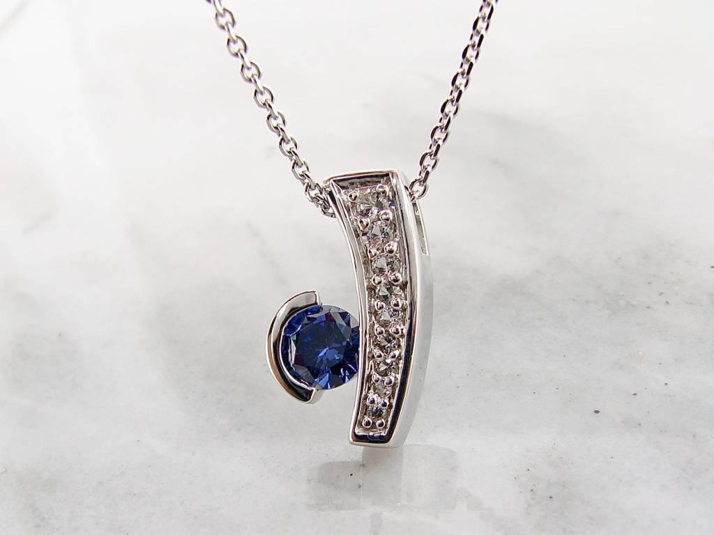 Frank Reubel Tanzanite Sapphire Silver Pendant, Miami Blue