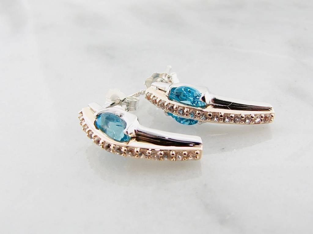 Frank Reubel Yellow Gold Silver Topaz Sapphire Earrings, Bluewater Bridge