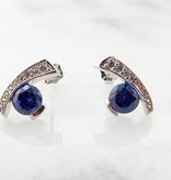Frank Reubel Tanzanite Sapphire Silver Earrings, Miami Blue