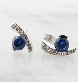Frank Reubel Tanzanite Sapphire Silver Earrings, Miami Blue