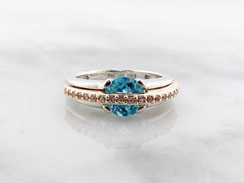 Frank Reubel Yellow Gold Silver Topaz Sapphire Ring, Bluewater Bridge