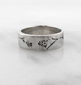 Organic Silver Ring, Ponderosa Pine Band Antiqued