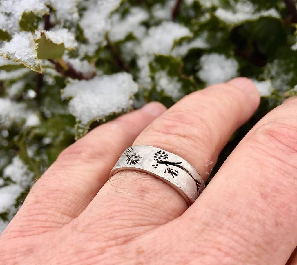 Organic Silver Ring, Ponderosa Pine Band Antiqued
