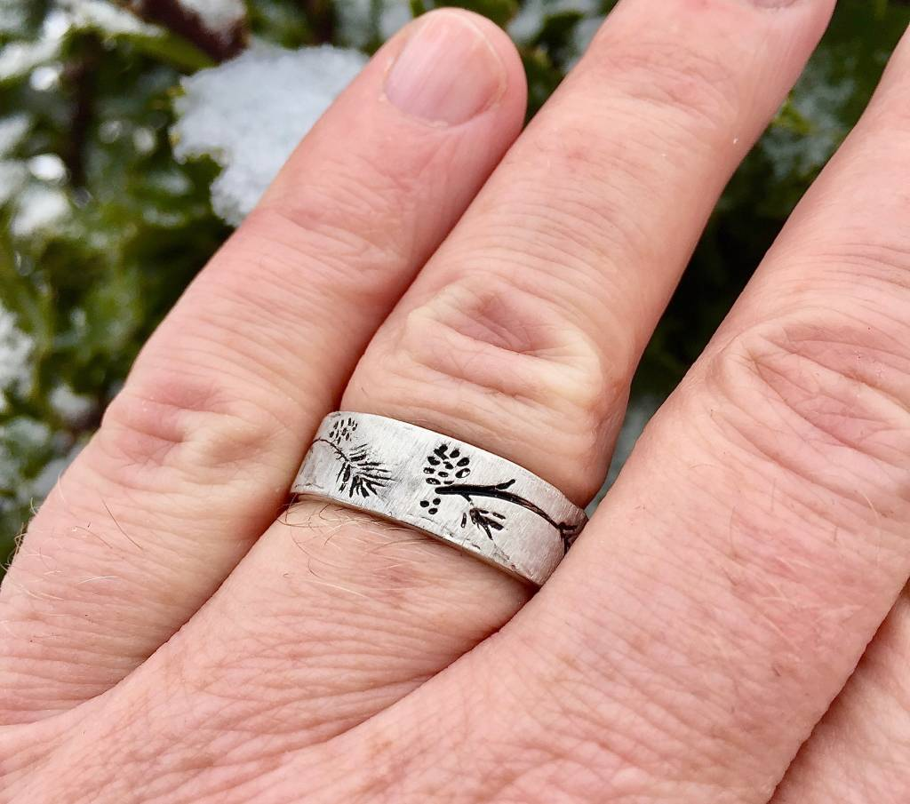 Silver Ring, Ponderosa Pine Band Antiqued $129.00 | Wexford Jewelers ...