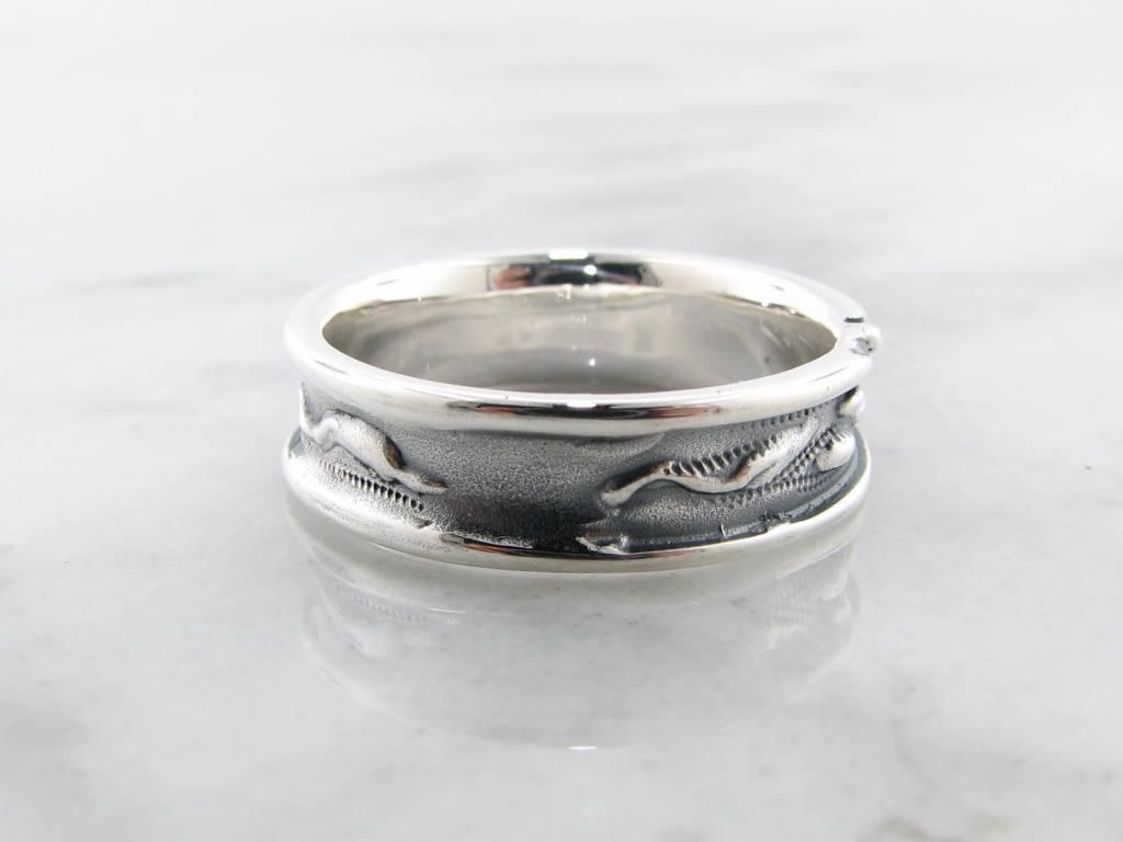 Organic Antiqued Silver Ring, Rosebud Leaf Band