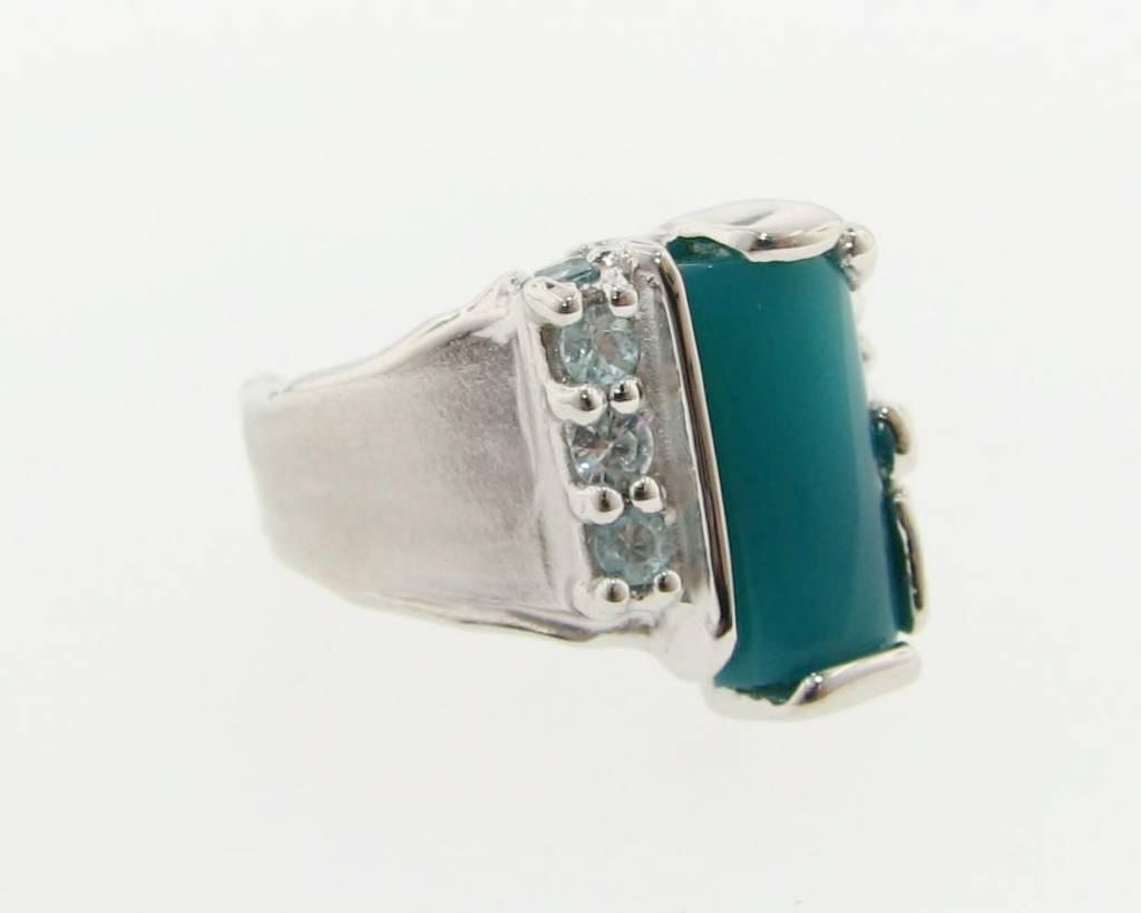 Organic Chrysocolla Blue Zircon Silver Ring, Melted Pierced
