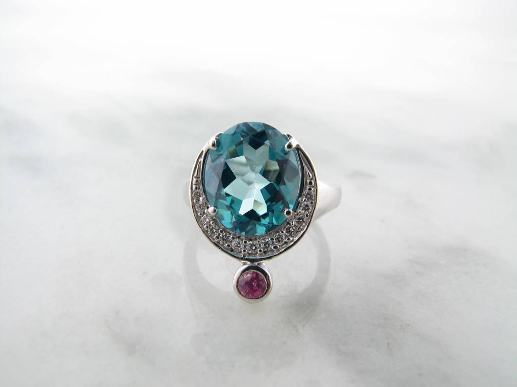 Frank Reubel Quartz Pink White Sapphire Silver Ring, Ocean Queen Blue
