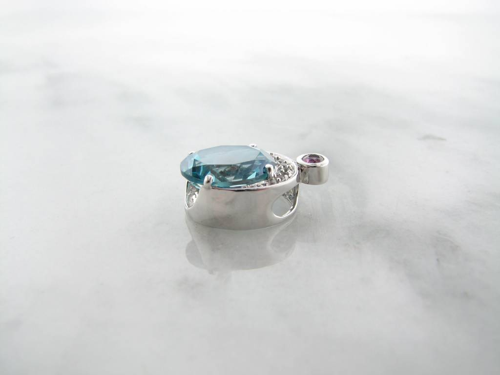 Frank Reubel Quartz Pink White Sapphire Necklace, Ocean Queen Blue