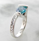 Frank Reubel Green Blue Topaz White Sapphire Silver Ring, Caribbean Blue