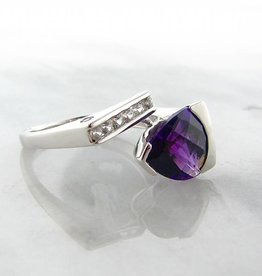 Frank Reubel Silver Amethyst White Sapphire Ring, Asymmetrical Gulf
