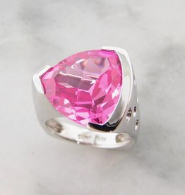 Frank Reubel Pink Topaz Silver Ring Trillion Cut, Pink Punk