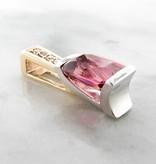 Frank Reubel Pink Tourmaline Diamond White Yellow Gold Pendant, Vitality