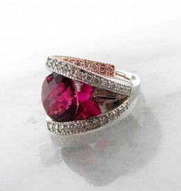 Frank Reubel Rubellite Tourmaline Diamond Rose White gold Ring, Beyond Beautiful