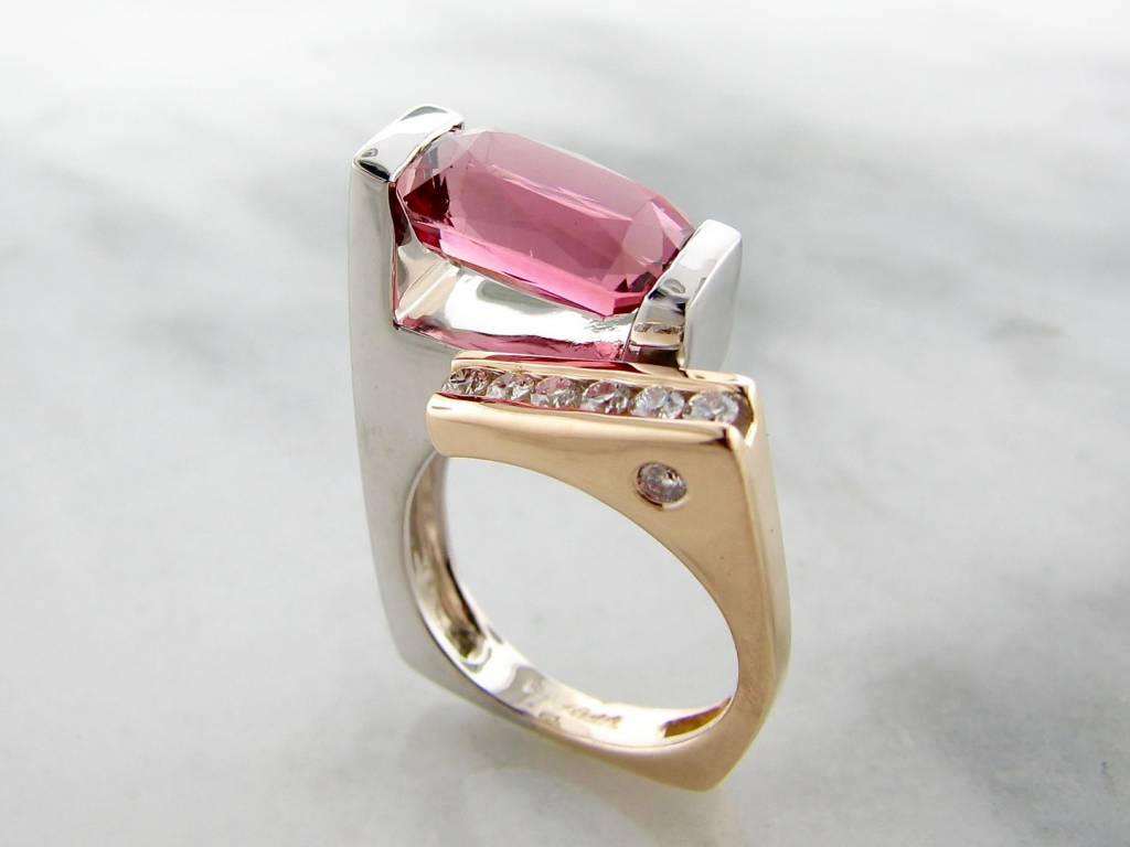 Frank Reubel Pink Tourmaline Diamond White Yellow Gold Ring, Vitality