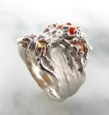 Organic Orange Opal Sapphire Citrine Silver Ring, Tree of Life