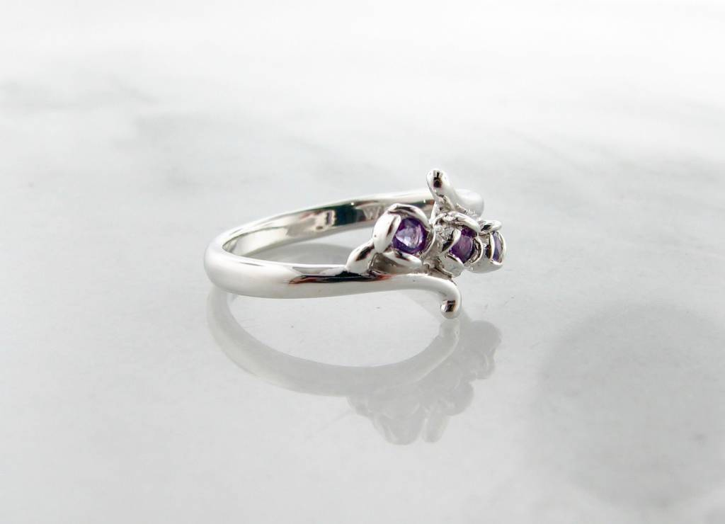 Signature Rose Amethyst Silver Three Stone Ring, Rosebud Vine Bypass