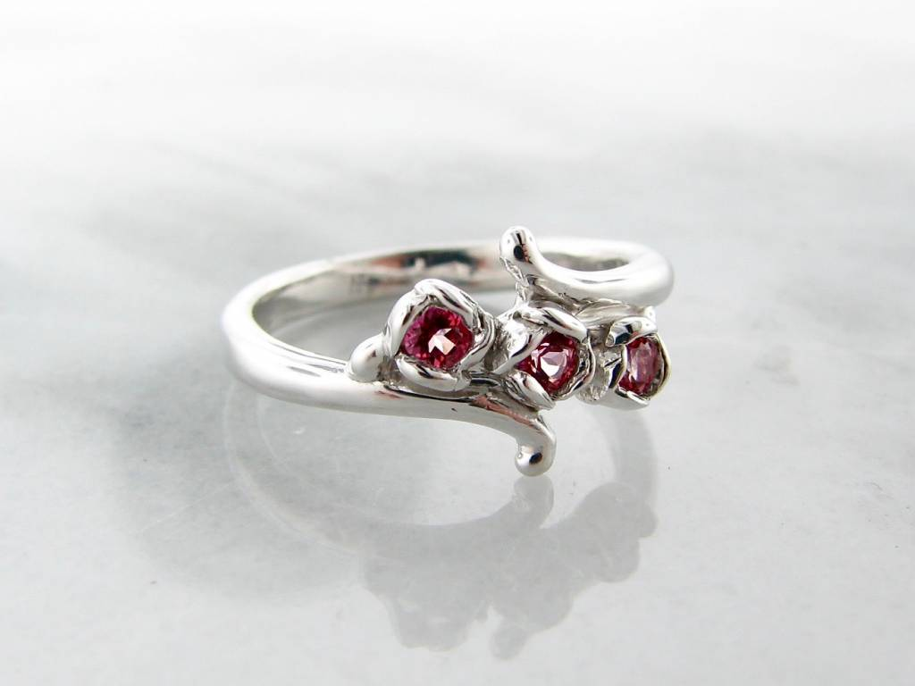 Signature Rose Pink Topaz Three Stone Ring, Rosebud Vine Bypass