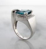 Frank Reubel Caribbean Blue White Topaz Tanzanite Silver Ring, Architectural