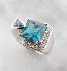 Frank Reubel Caribbean Blue White Topaz Tanzanite Silver Ring, Architectural