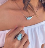 Organic Larimar Silver Gold Two Tone Necklace, Lagoon