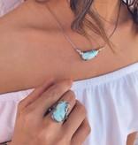 Organic Silver Gold Two-tone Larimar Ring, Tropical Getaway