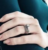 Organic Diamond White Gold Wedding Ring Set, Maple Leaf