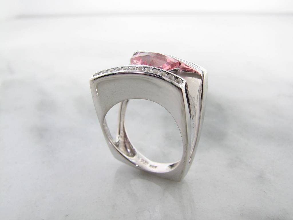 Frank Reubel Pink Quartz White Sapphire Silver Ring, Sunset