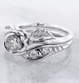 Signature Rose Diamond White Gold Wedding Ring Set, Prize Tea Rose